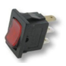 interruttore luminoso rosso 13 x 20 mm - 3 faston - 10a