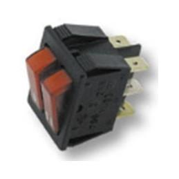 interruttore doppio unipolare luminoso rosso 22 x 30mm - 6 faston - 16a
