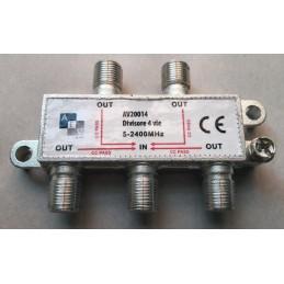 divisore 4 vie orizzontale con connettore f - scatola da 20 pz. (prezzo singolo)