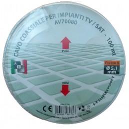 cavo coassiale 75ohm-5mm (100mt) - classe b.cavo conforme alle normative en50117-2-5 e alle direttive rohs e ceconduttore : ccsd