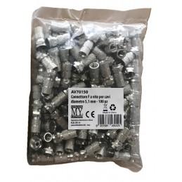 connettore f a vite 5,1mm - sacchetto 100 pezzi