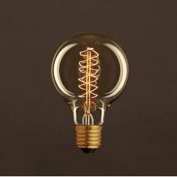 . lampadina vintage e27. tipo globo. dimensioni o 80mm h.120mm. potenza 25w. luminosita .60 lmn. gioco di luce onda 24 elementi