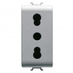 presa standard italiano 250v ac - 2p+t 16a bivalente - p11-p17 - 1 modulo - titanio - chorusi dispositivi modulari chorus offron