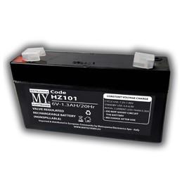 batteria al piombo  6v 1.3ah faston 4.8mmdim. 9.8x2.5x5.9 mm