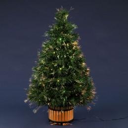 albero natale 120 mb a fibre ottiche sfumate sparkler multicolor, pvc verde, gioco di luce automatico,trasformatore 12v, uso int