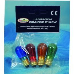 confezione 4 lampada ricambio incandescenza multi. attacco e14 virola 14v 0,35a luce fissa (blu xk art. conf4-laco e14).