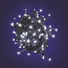 catena lineare mb 10 led bianco ø5mm reflex, luce fissa, 230v, uso interno, cavo verde, dimensioni 1,5+1m, sacchetto con cartonc