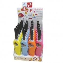 accendigas a fiamma - ricaricabile e regolabile - chiusura di sicurezza fiamma - certificato iso 22702 -4 colori fluo