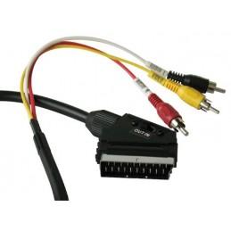 cavetto audio-video stereo, scart in-out/ 3rca, spina-spina, colore nero, confezione in bulk.