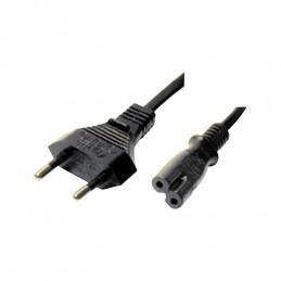 cavetto di alimentazione a 2 poli , connettori : spina tipo 10a / presa tipo iec c7, lunghezza 1,5mt.,colore nero , confezione i