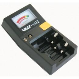 adatto per verificare lo stato di carica di batterie a 9v e di tutti i tipi cilindrici e a bottone. dimensioni: 55 x 52 x 18 m.