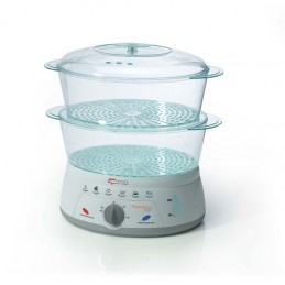 vaporiera ideale per una cottura a vapore dietetica, senza grassi e ricca di vitamine e minerali2 contenitori trasparenti impila