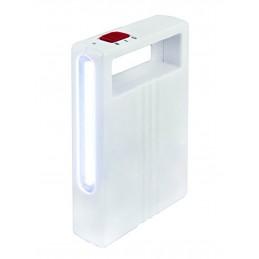 velamp magica led lanterna a batteria ricaricabile modello ir200. lanterna realizzata in abs di colore bianco. 2 diverse potenze